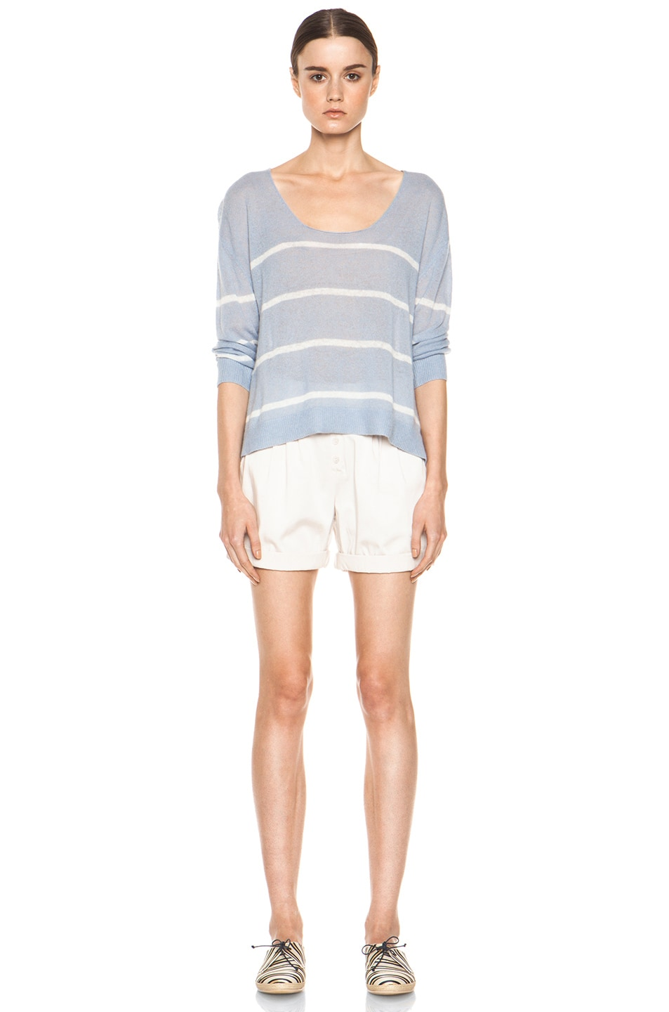 Image 5 of Girl. by Band of Outsiders Plush Pullover in Pearl Blue