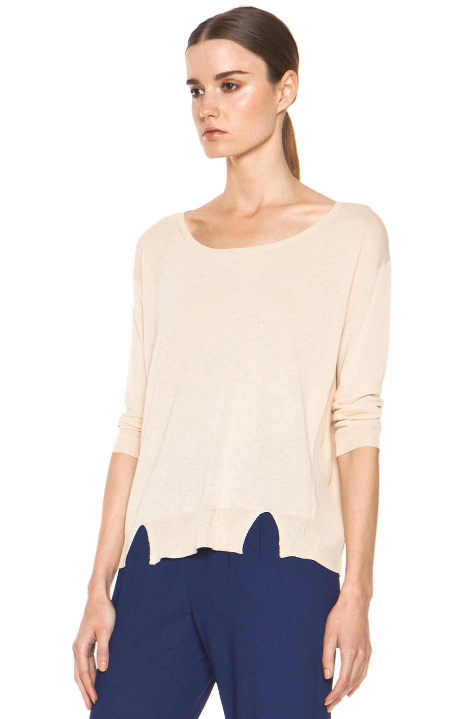 Image 2 of Girl. by Band of Outsiders Malibu Basic Sweater in Nude