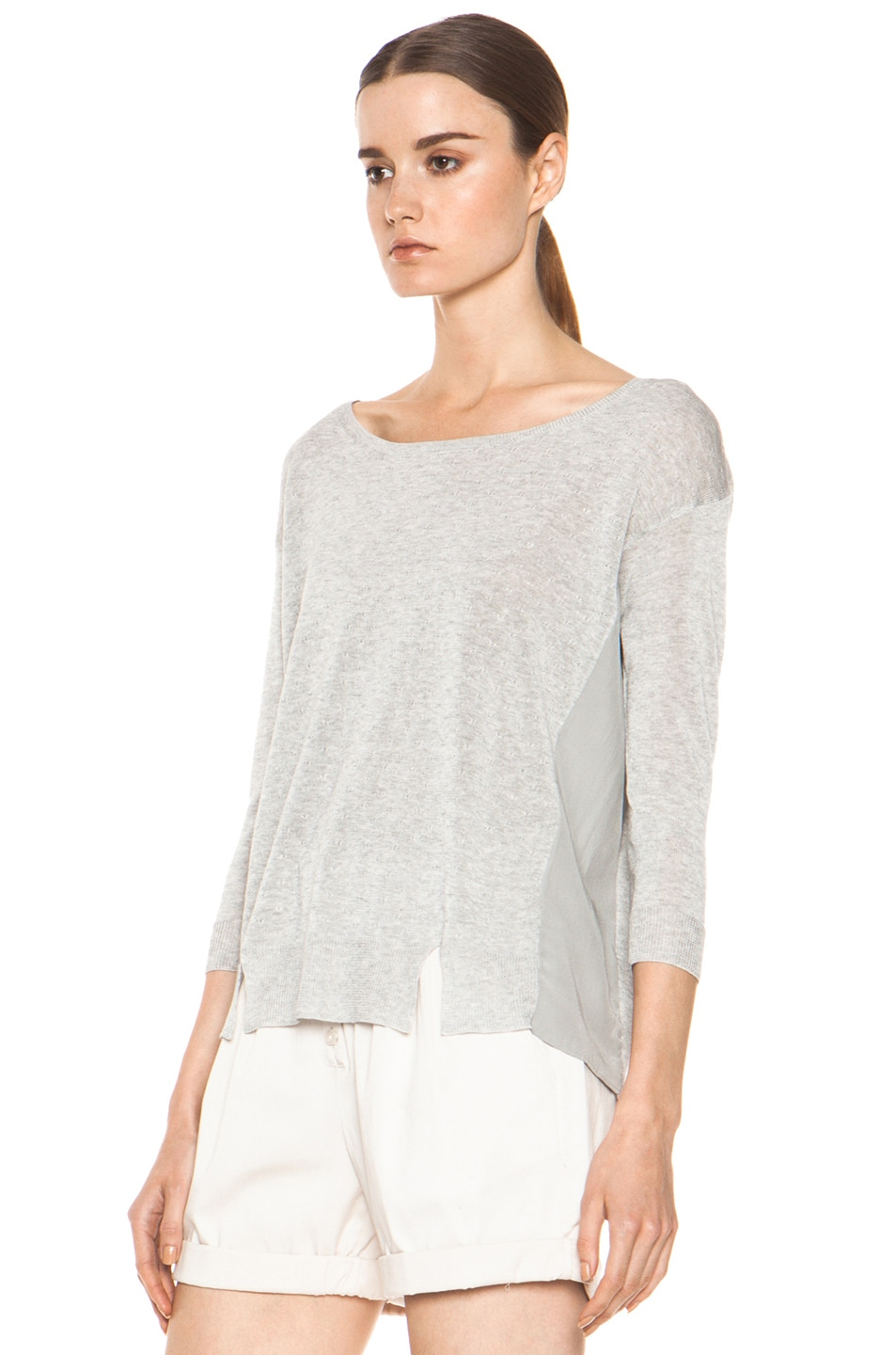 Image 2 of Girl. by Band of Outsiders Malibu Basic Sweater in Grey Heather