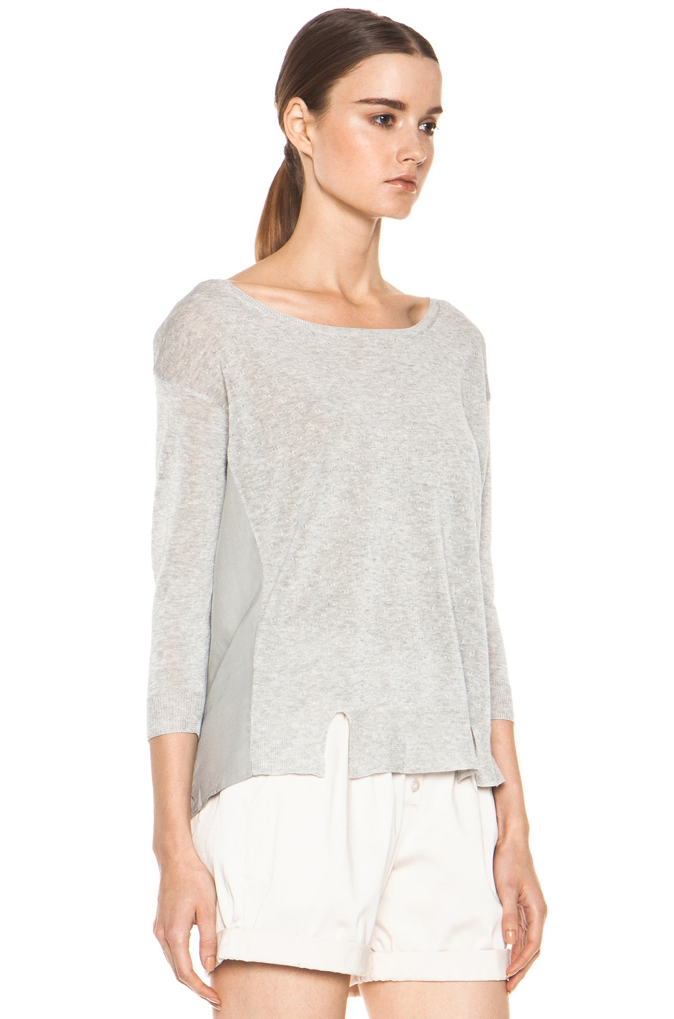 Image 3 of Girl. by Band of Outsiders Malibu Basic Sweater in Grey Heather
