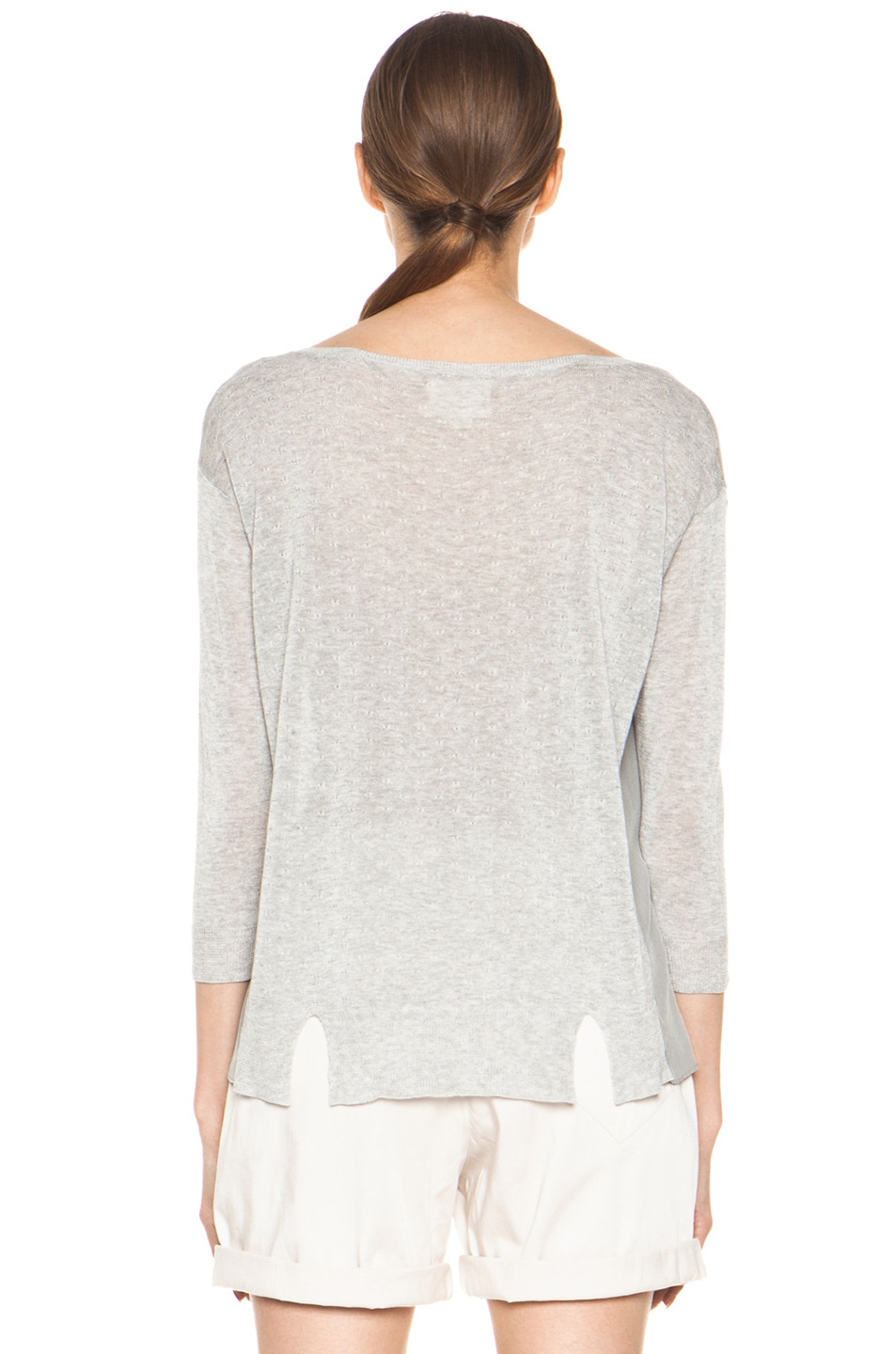 Image 4 of Girl. by Band of Outsiders Malibu Basic Sweater in Grey Heather