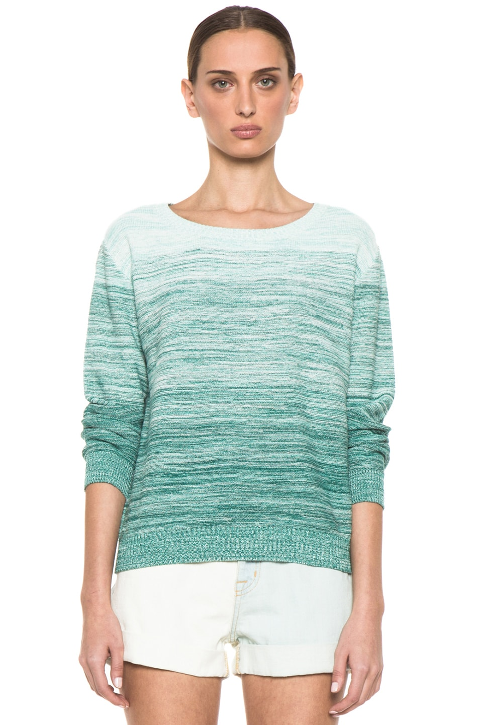Image 1 of Girl. by Band of Outsiders Degrade Pullover Sweater in Multi Green