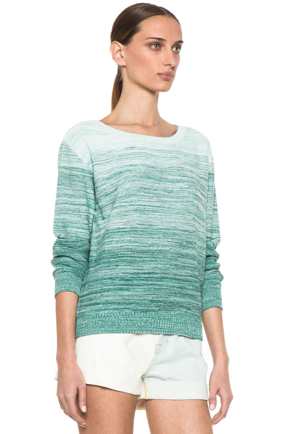 Image 3 of Girl. by Band of Outsiders Degrade Pullover Sweater in Multi Green