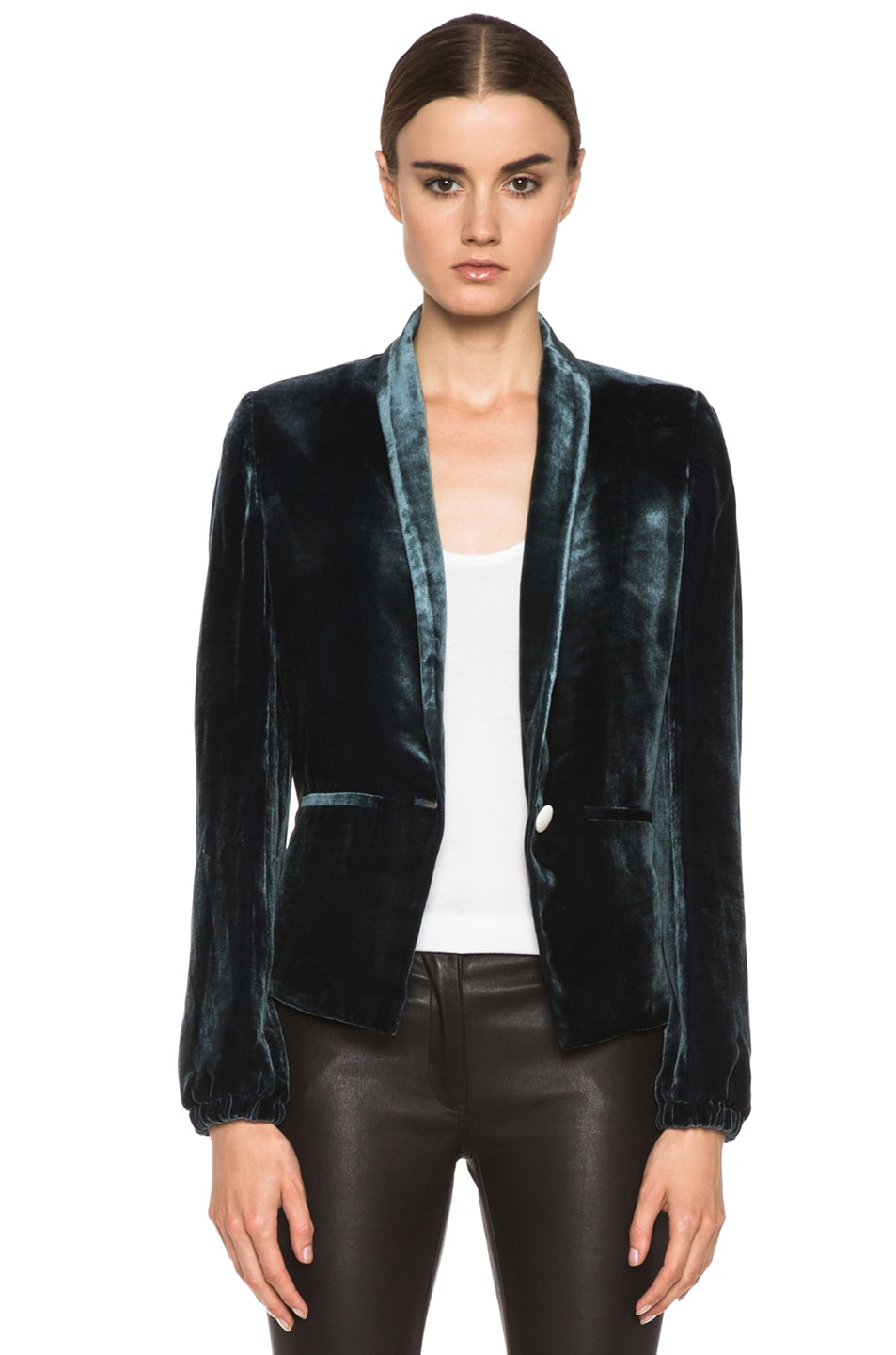Image 1 of Girl. by Band of Outsiders Velvet Jacket in Blue