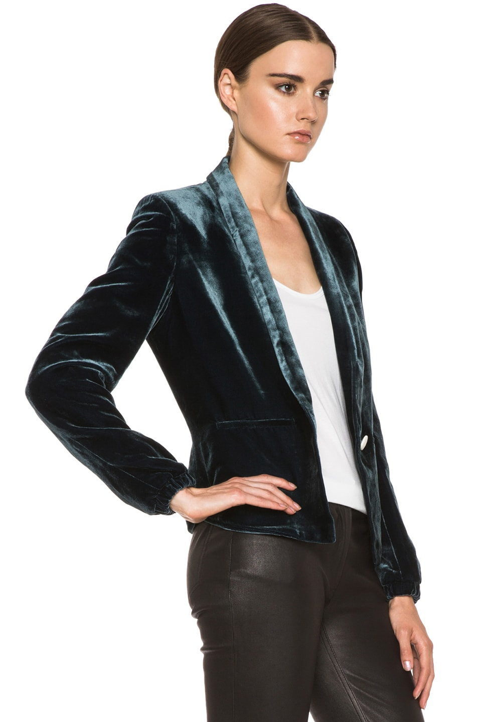 Image 4 of Girl. by Band of Outsiders Velvet Jacket in Blue