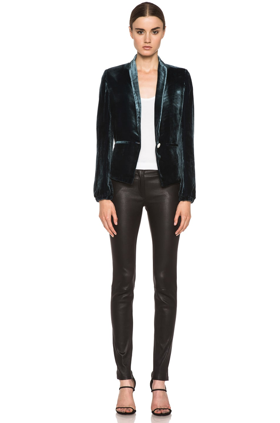 Image 6 of Girl. by Band of Outsiders Velvet Jacket in Blue