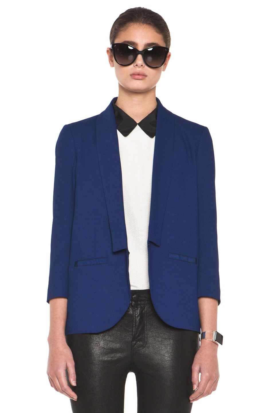 Image 1 of Girl. by Band of Outsiders Shawl Collar Blazer in Twilight Blue