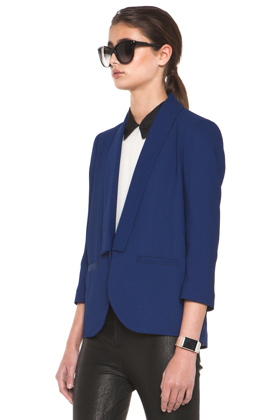 Image 3 of Girl. by Band of Outsiders Shawl Collar Blazer in Twilight Blue