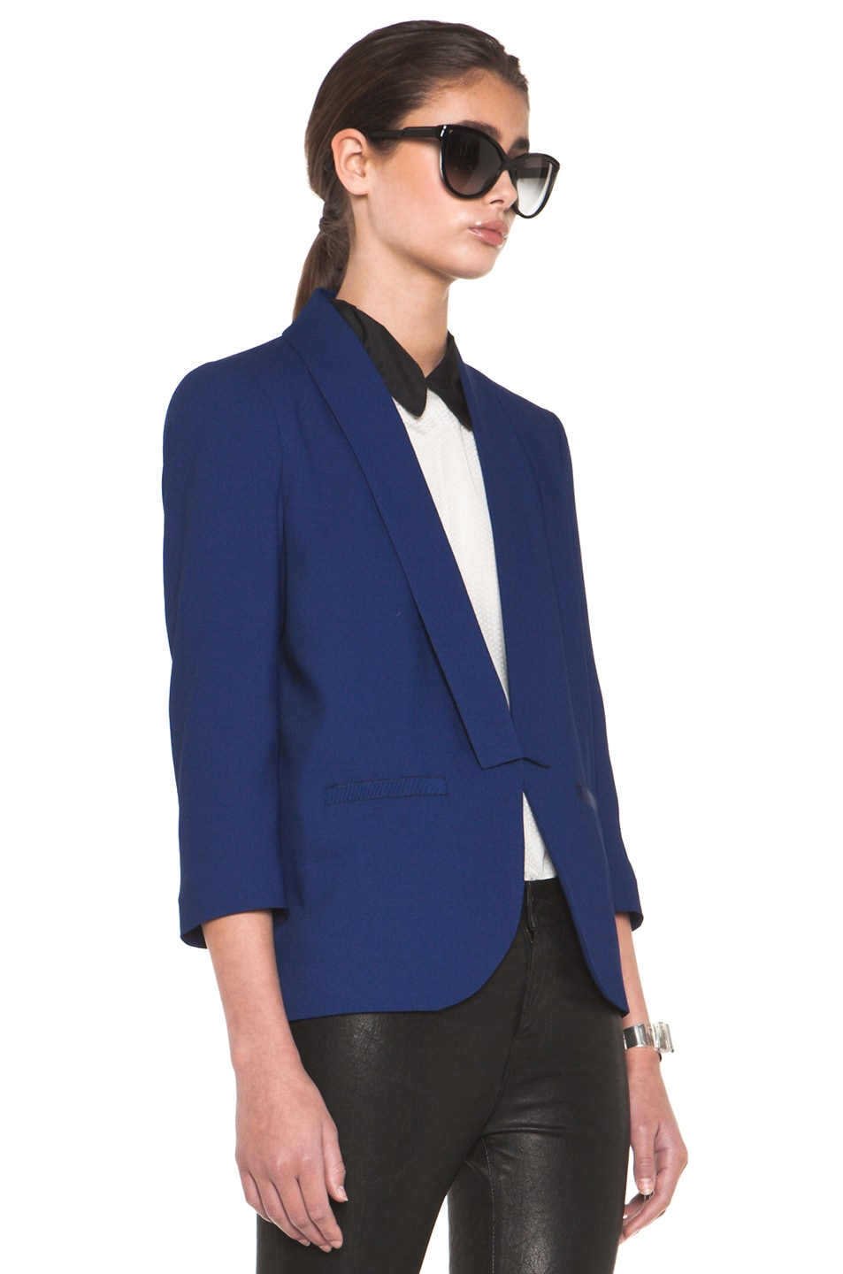 Image 4 of Girl. by Band of Outsiders Shawl Collar Blazer in Twilight Blue