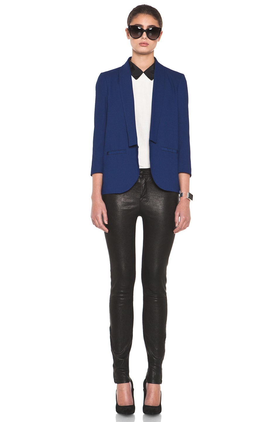Image 6 of Girl. by Band of Outsiders Shawl Collar Blazer in Twilight Blue