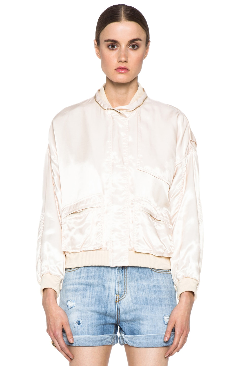 Image 2 of Girl. by Band of Outsiders Flight Bomber Modal-Blend Jacket in Nude