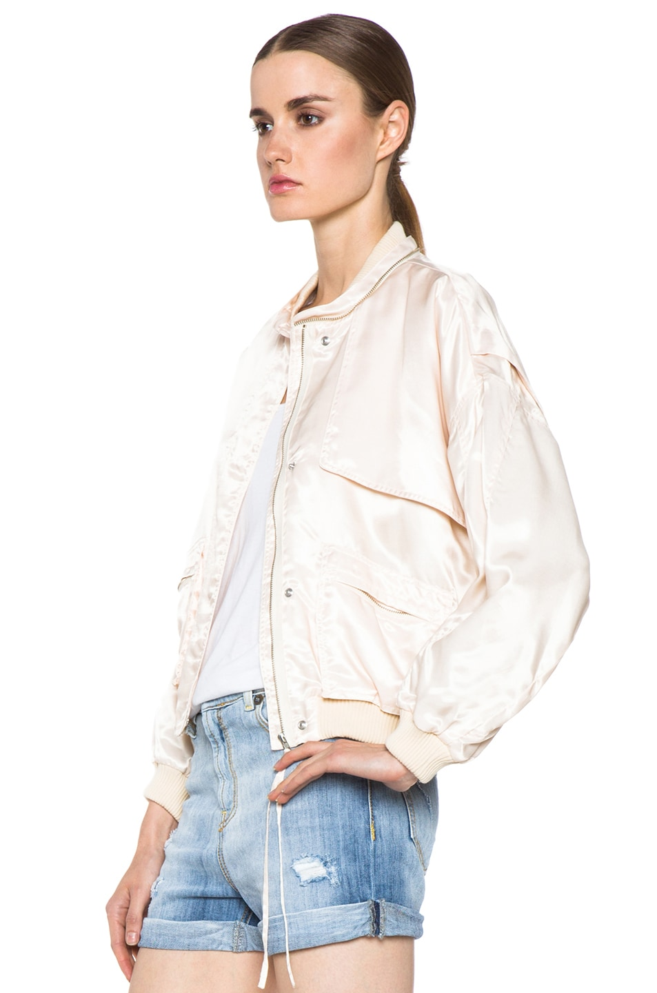 Image 3 of Girl. by Band of Outsiders Flight Bomber Modal-Blend Jacket in Nude