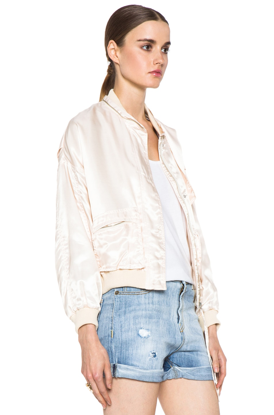 Image 4 of Girl. by Band of Outsiders Flight Bomber Modal-Blend Jacket in Nude