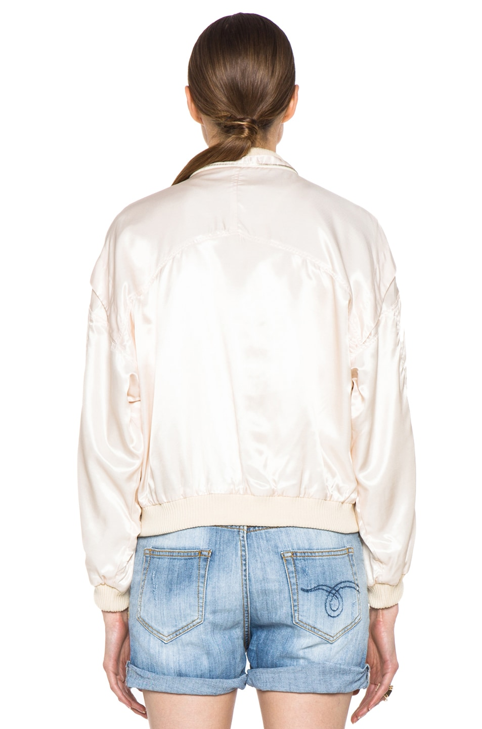 Image 5 of Girl. by Band of Outsiders Flight Bomber Modal-Blend Jacket in Nude