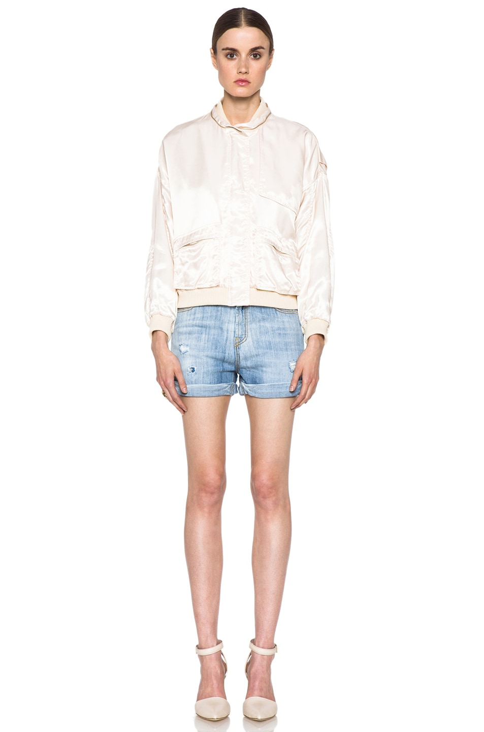 Image 6 of Girl. by Band of Outsiders Flight Bomber Modal-Blend Jacket in Nude