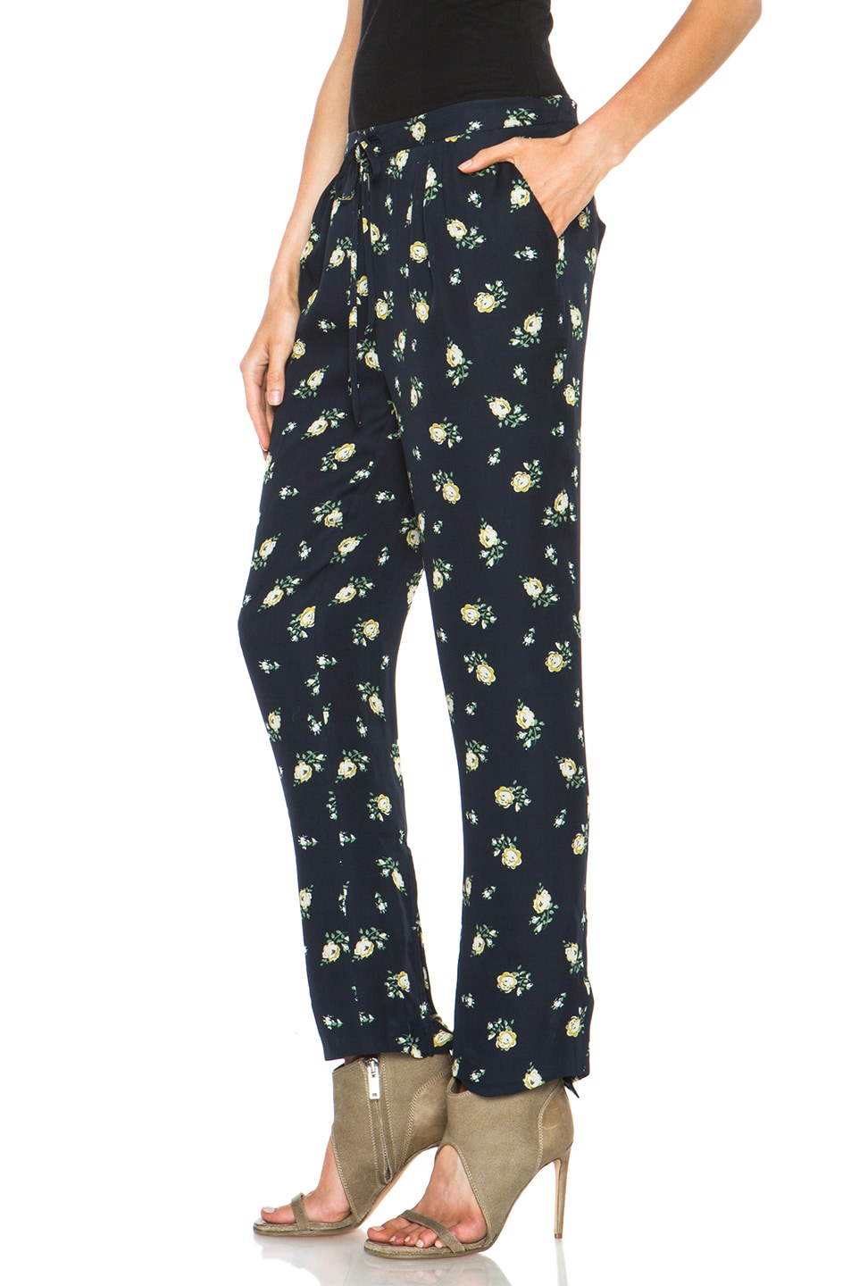 Image 2 of Girl. by Band of Outsiders Falling Rose Pant in Navy