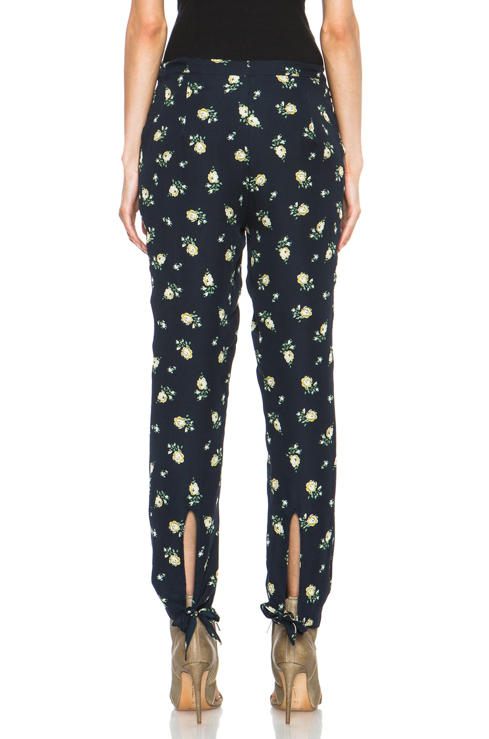 Image 4 of Girl. by Band of Outsiders Falling Rose Pant in Navy