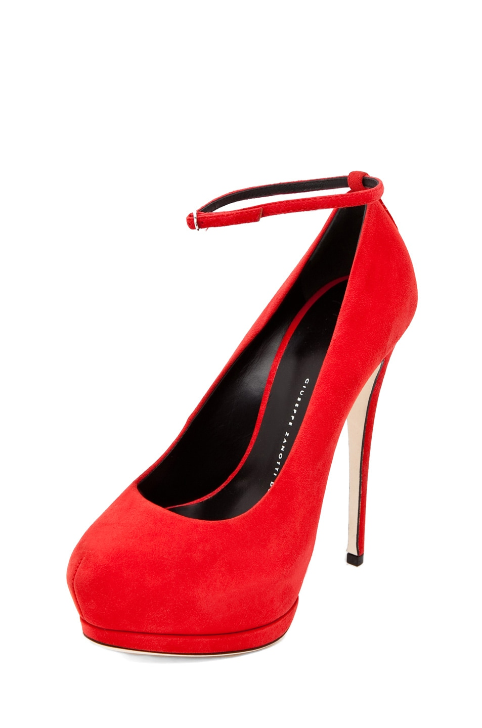 Image 2 of Giuseppe Zanotti Eva Ankle Strap Platform Pump in Red