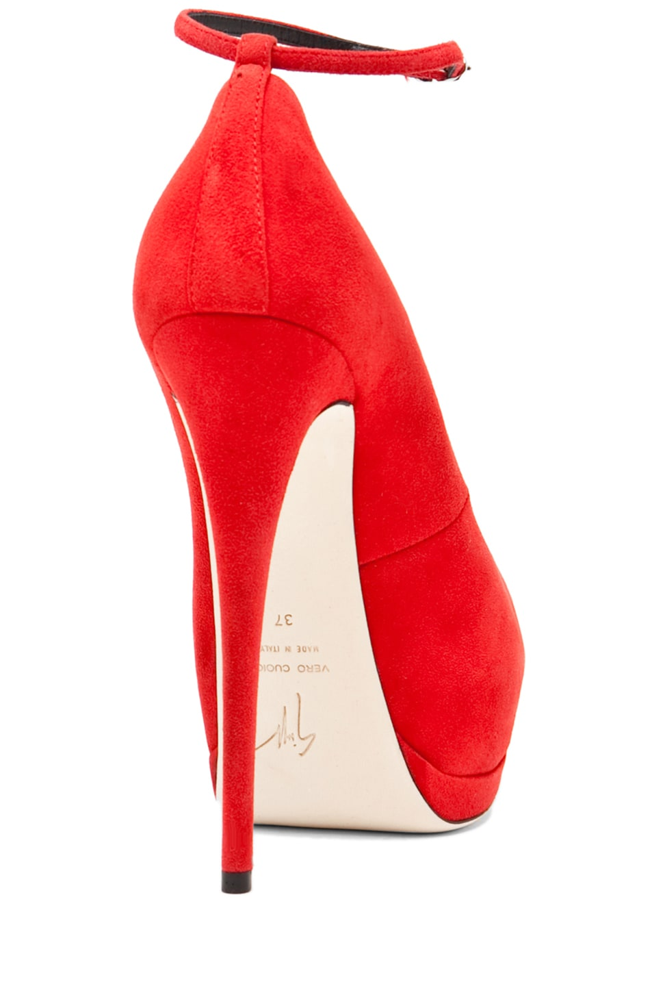 Image 3 of Giuseppe Zanotti Eva Ankle Strap Platform Pump in Red