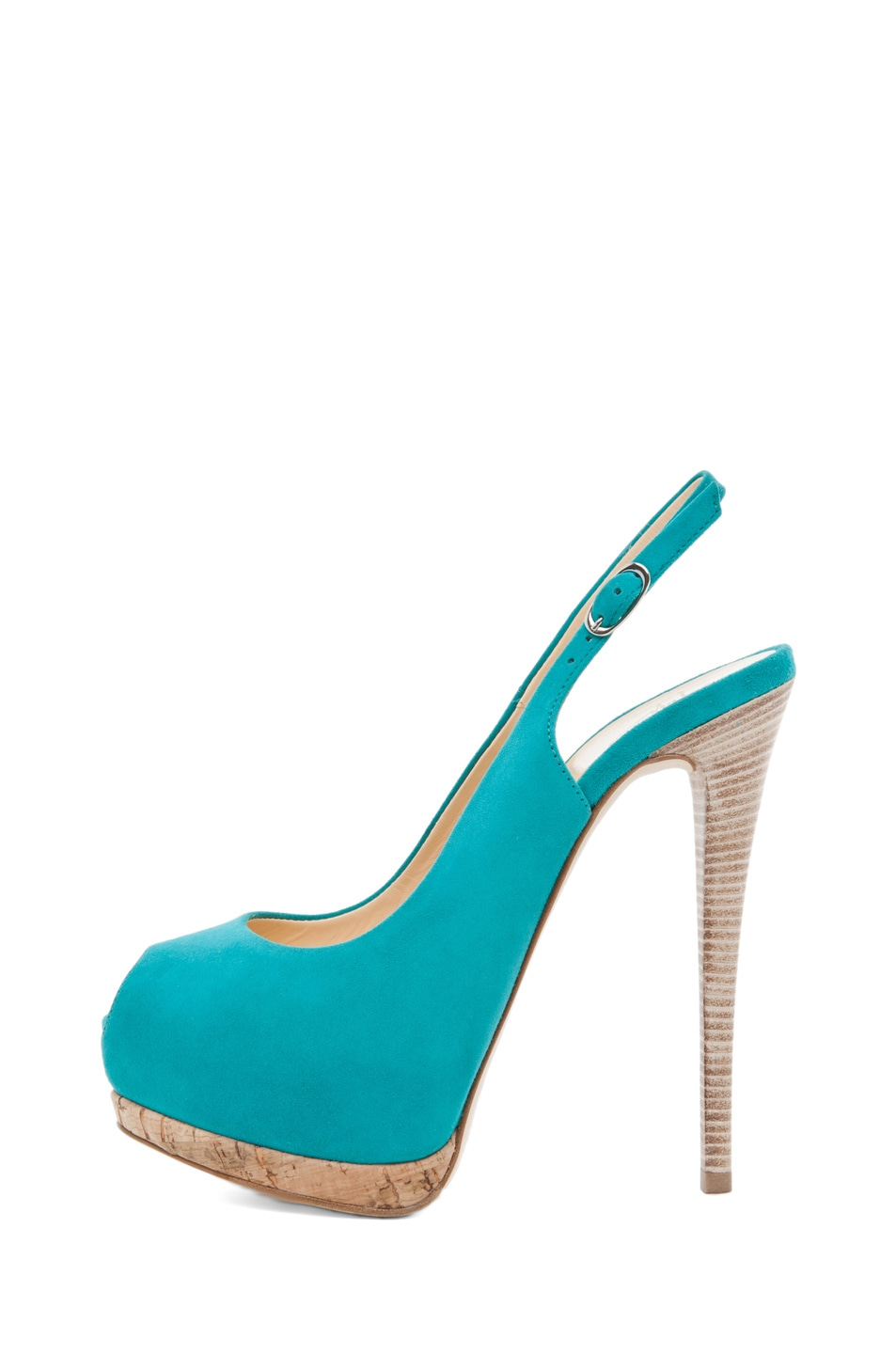 Image 1 of Giuseppe Zanotti Sling Back Cork Pump in Turquoise