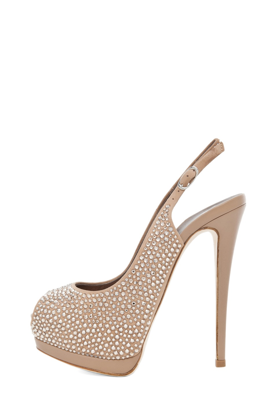 Image 1 of Giuseppe Zanotti Embellished Sling Back Pump in Nude