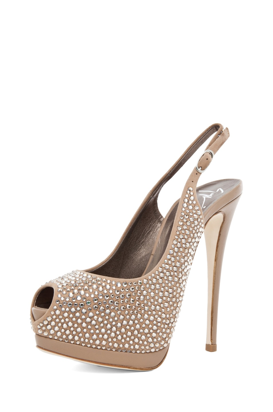 Image 2 of Giuseppe Zanotti Embellished Sling Back Pump in Nude