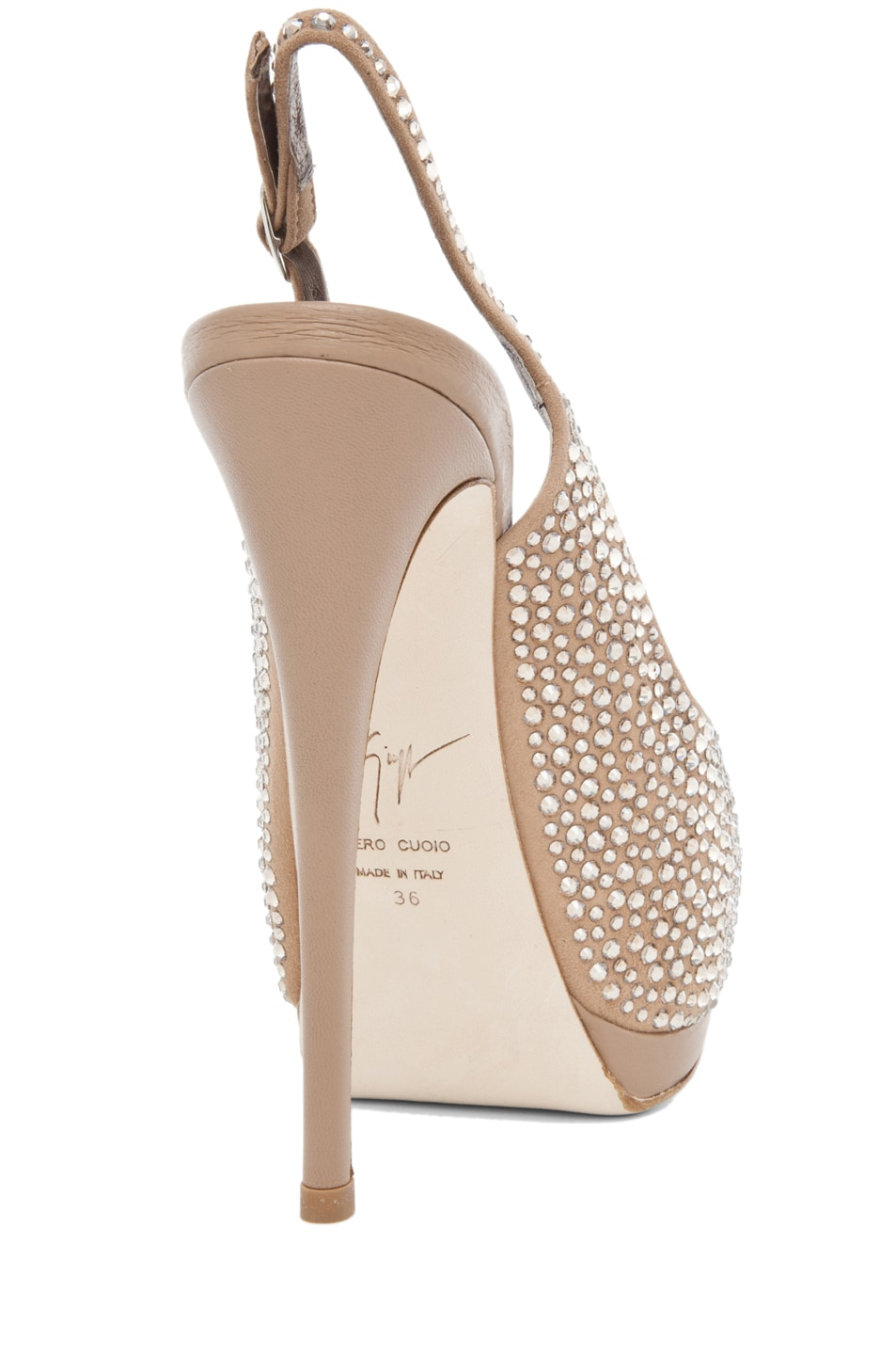 Image 3 of Giuseppe Zanotti Embellished Sling Back Pump in Nude