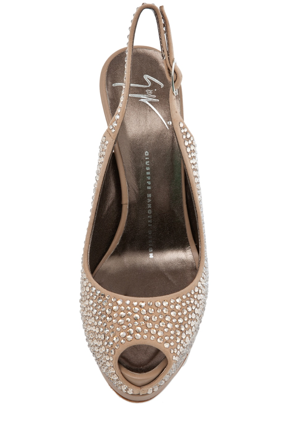 Image 4 of Giuseppe Zanotti Embellished Sling Back Pump in Nude