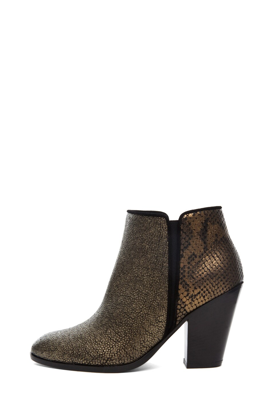 Image 1 of Giuseppe Zanotti Mixed Print Bootie in Bronze