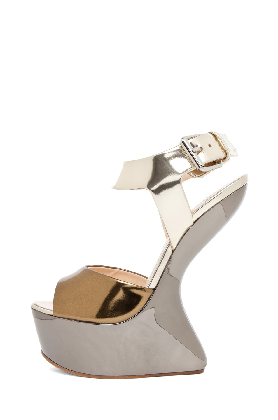 Image 1 of Giuseppe Zanotti Mirrored Wedge Sandal in Mixed Metallic