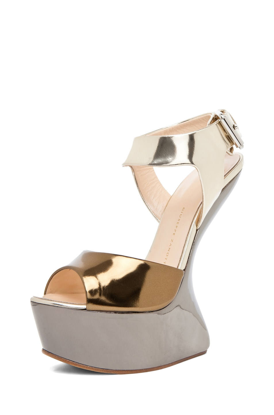 Image 2 of Giuseppe Zanotti Mirrored Wedge Sandal in Mixed Metallic