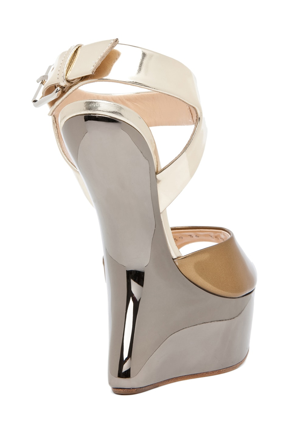 Image 3 of Giuseppe Zanotti Mirrored Wedge Sandal in Mixed Metallic