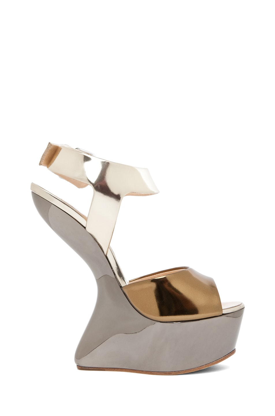 Image 5 of Giuseppe Zanotti Mirrored Wedge Sandal in Mixed Metallic