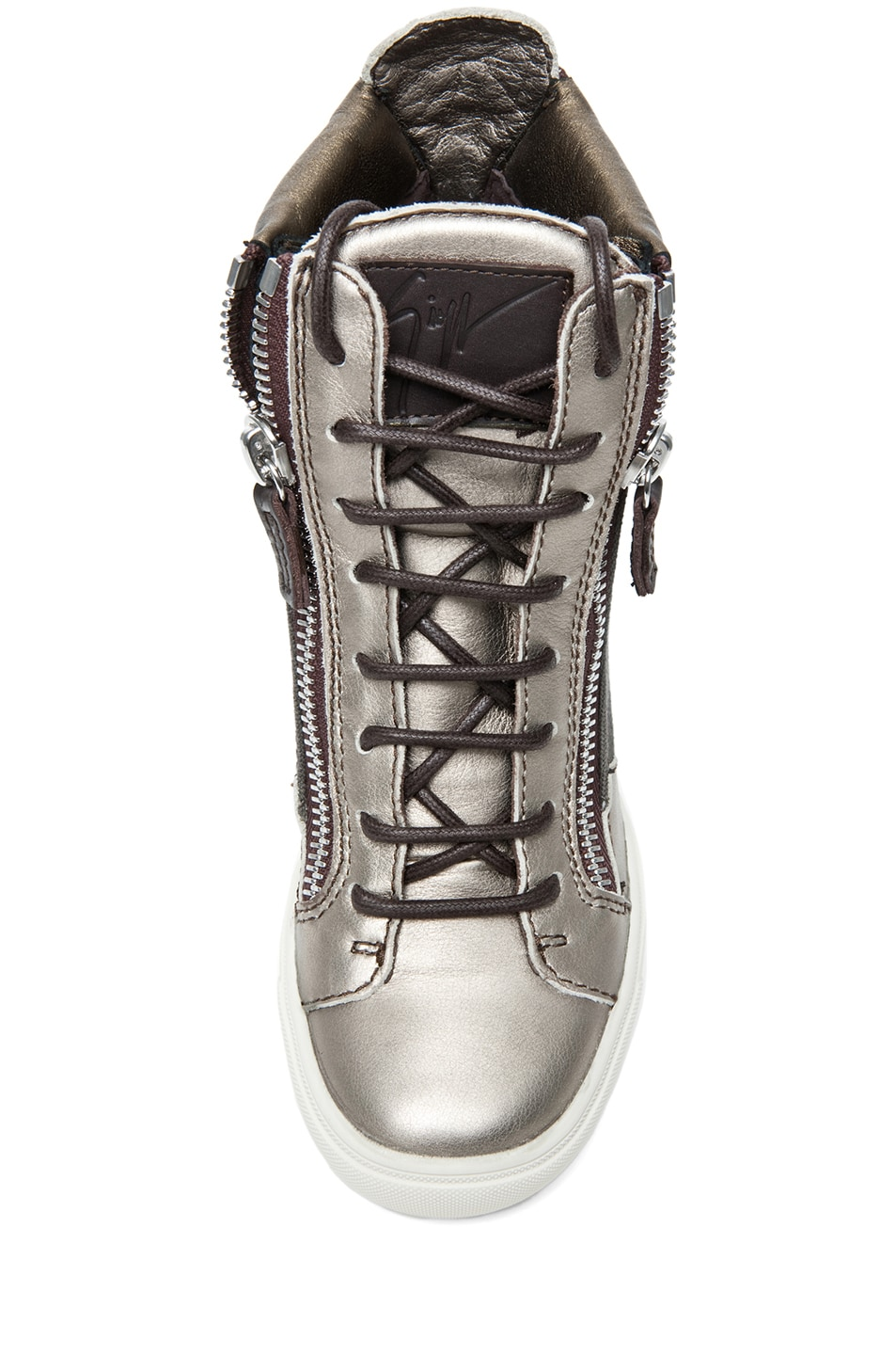 Image 4 of Giuseppe Zanotti Canvas & Leather Wedge Sneakers in Khaki & Metallic