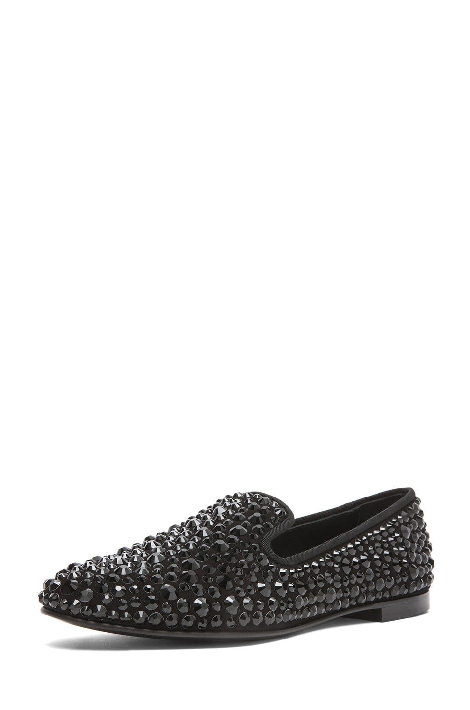Image 2 of Giuseppe Zanotti Suede Embellished Flats in Black
