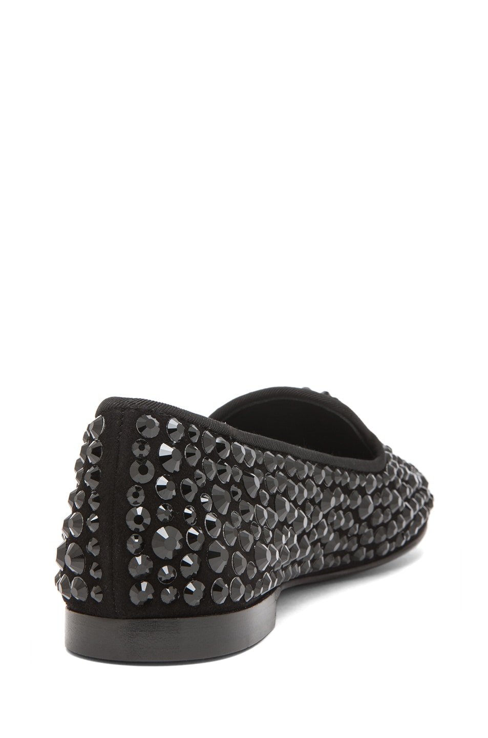 Image 3 of Giuseppe Zanotti Suede Embellished Flats in Black
