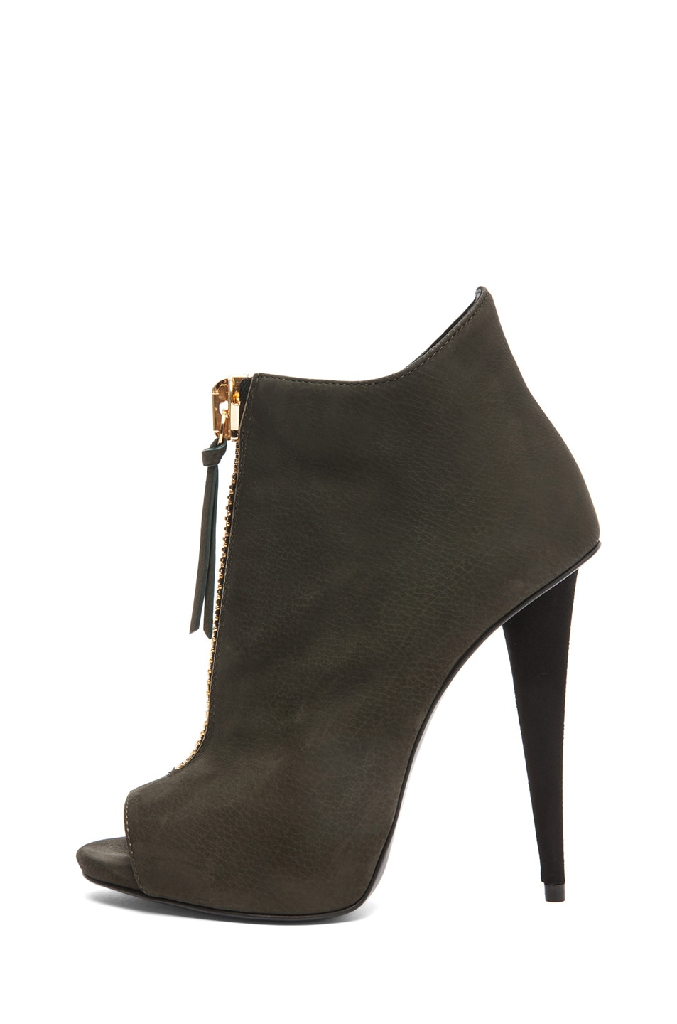 Image 1 of Giuseppe Zanotti Suede Zip Up Ankle Boot in Olive