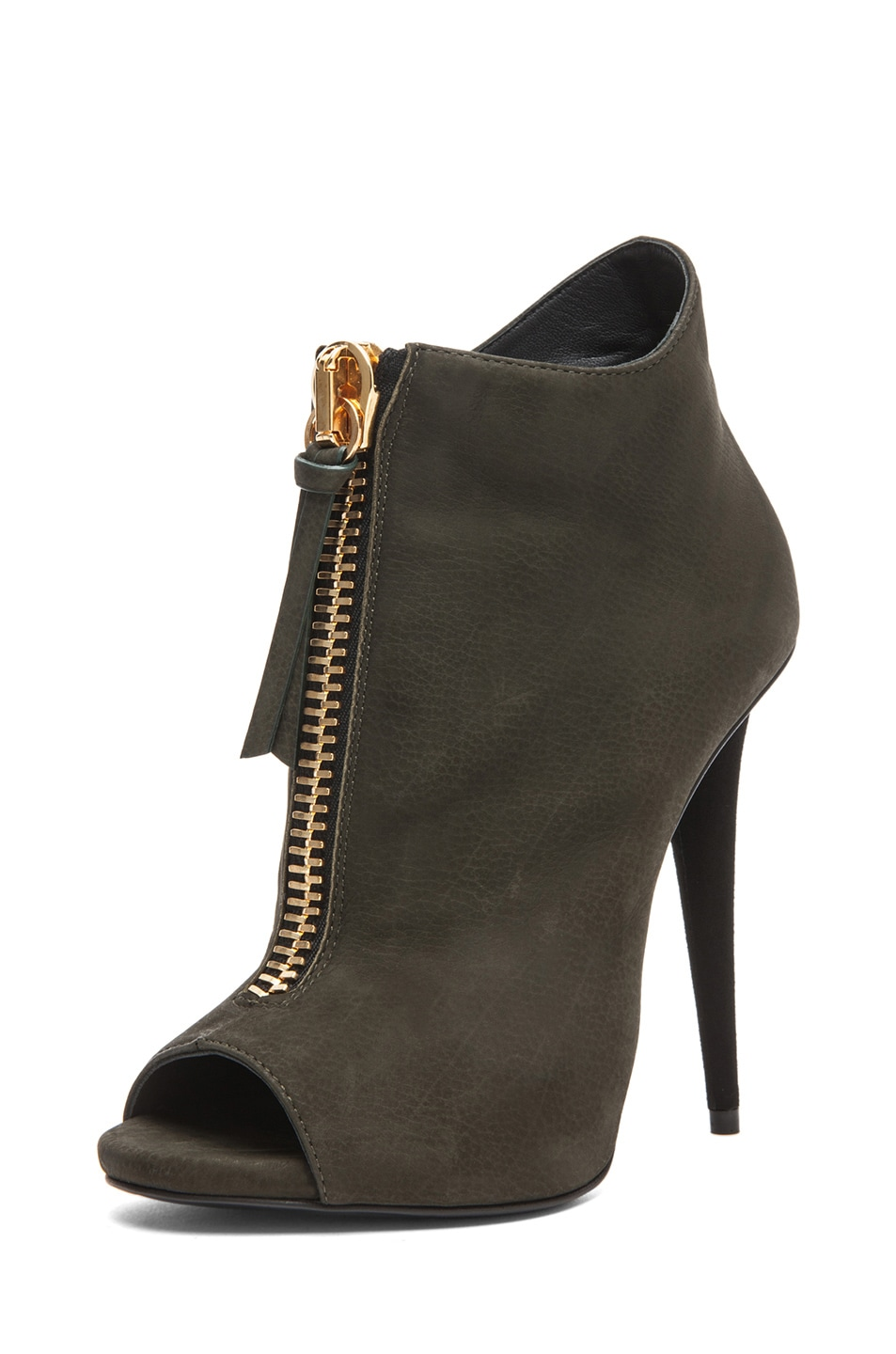 Image 2 of Giuseppe Zanotti Suede Zip Up Ankle Boot in Olive