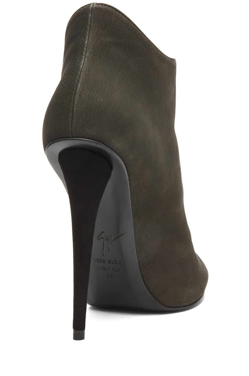 Image 3 of Giuseppe Zanotti Suede Zip Up Ankle Boot in Olive
