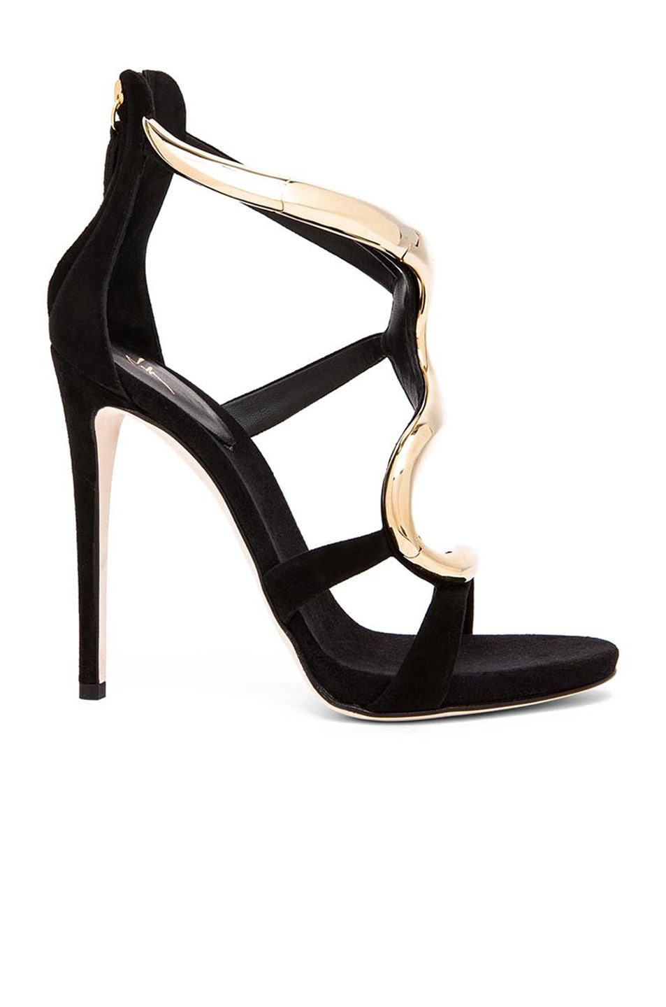 Image 1 of Giuseppe Zanotti Gold Snake Suede Heels in Black Suede