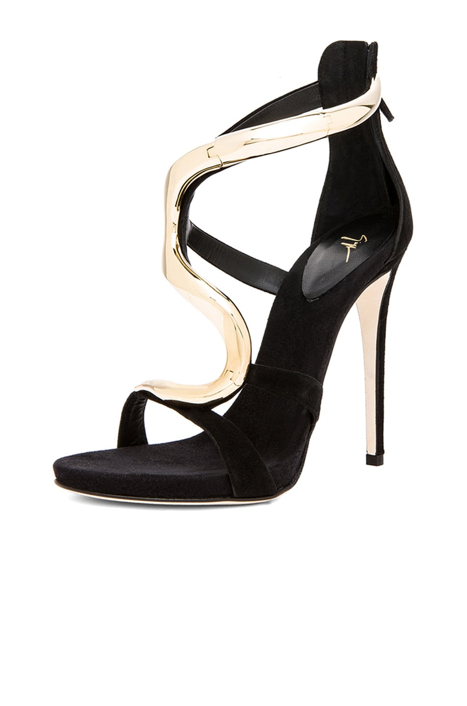 Image 2 of Giuseppe Zanotti Gold Snake Suede Heels in Black Suede