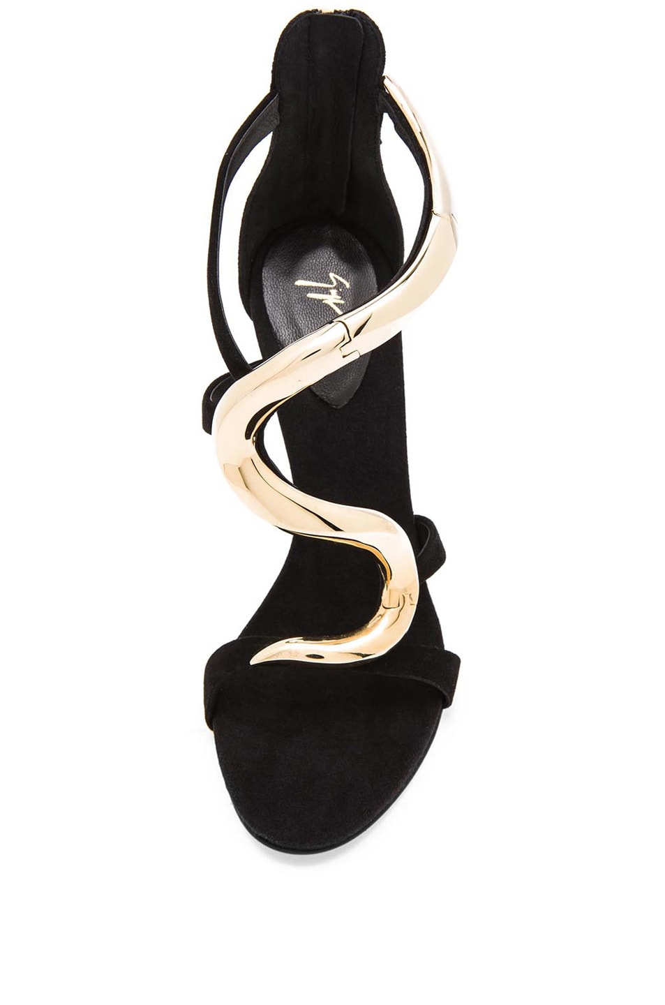 Image 4 of Giuseppe Zanotti Gold Snake Suede Heels in Black Suede