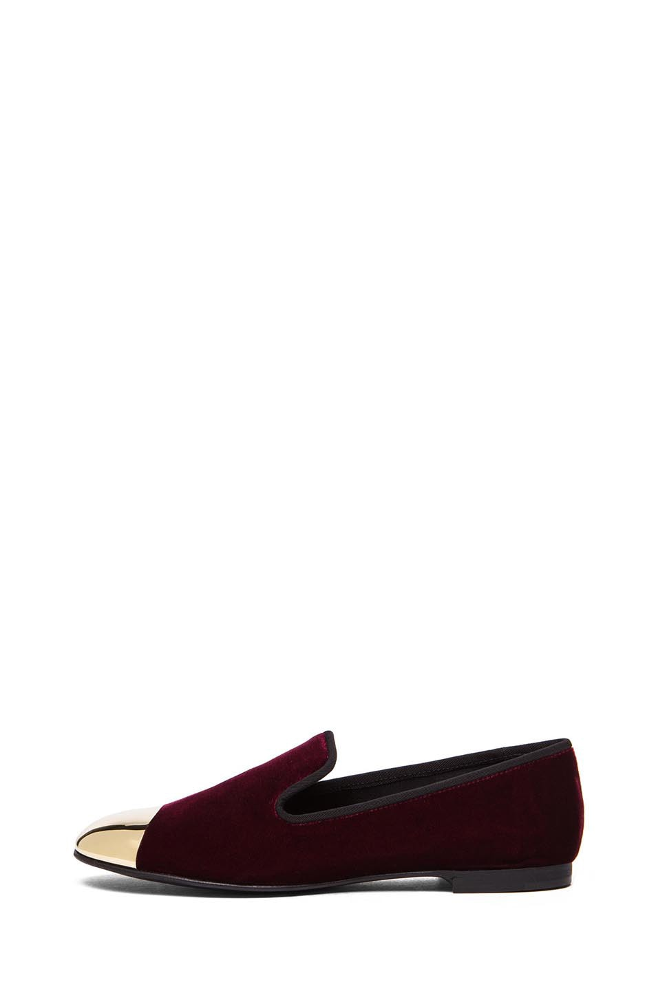 Image 1 of Giuseppe Zanotti Velvet Gold Tipped Flat in Burgundy Velvet