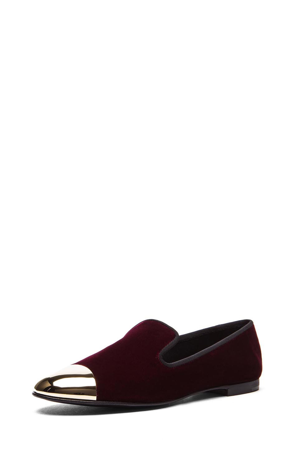 Image 2 of Giuseppe Zanotti Velvet Gold Tipped Flat in Burgundy Velvet