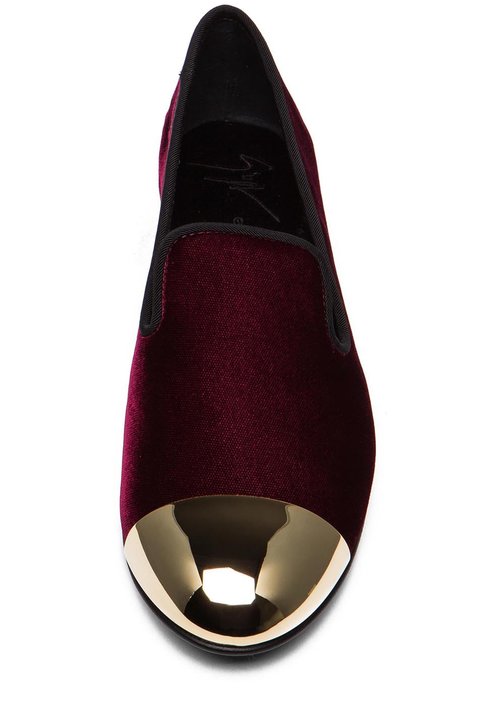 Image 4 of Giuseppe Zanotti Velvet Gold Tipped Flat in Burgundy Velvet
