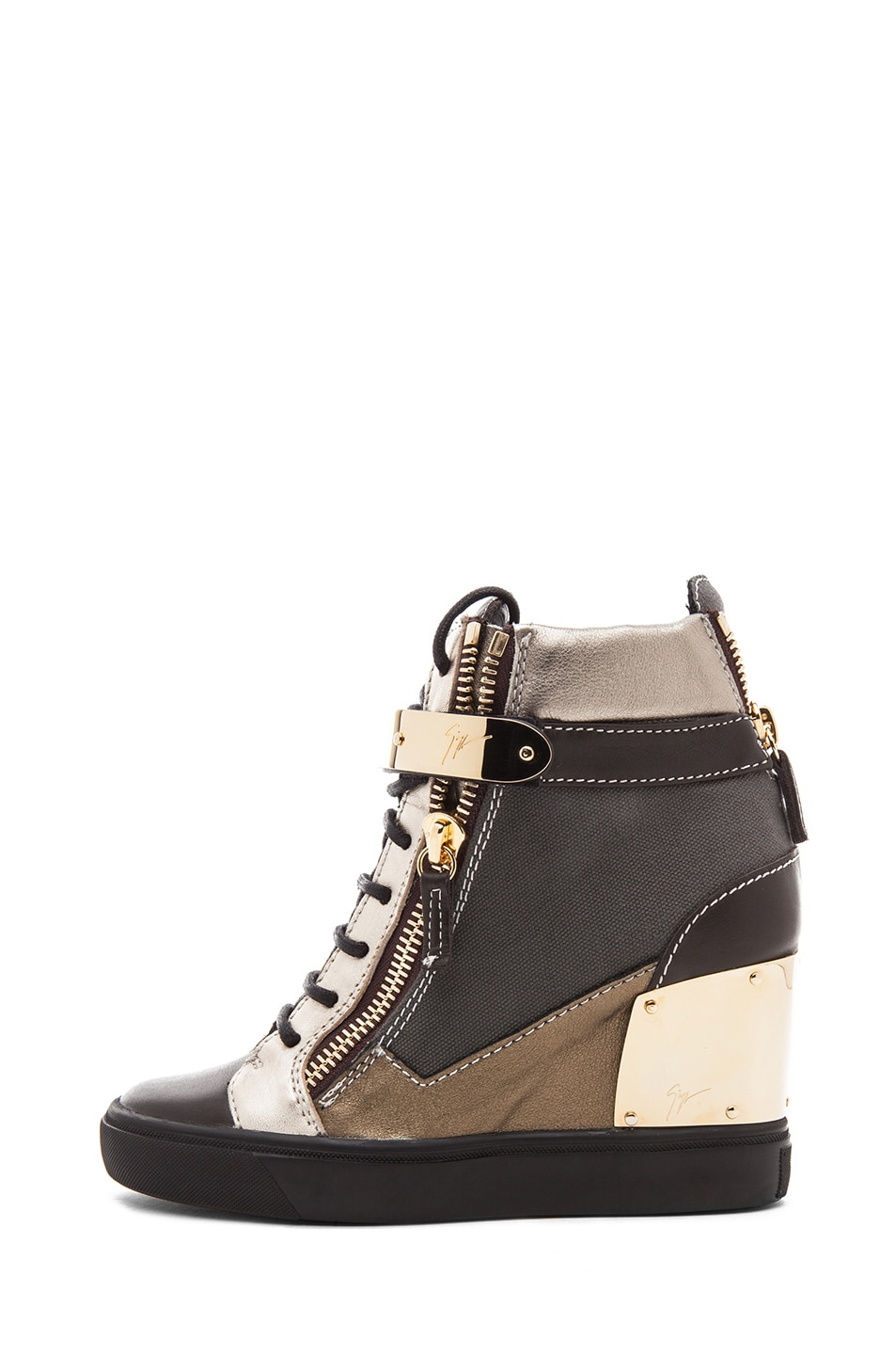 Image 1 of Giuseppe Zanotti Canvas & Leather Gold Strap Sneaker Wedge in Black Metallic