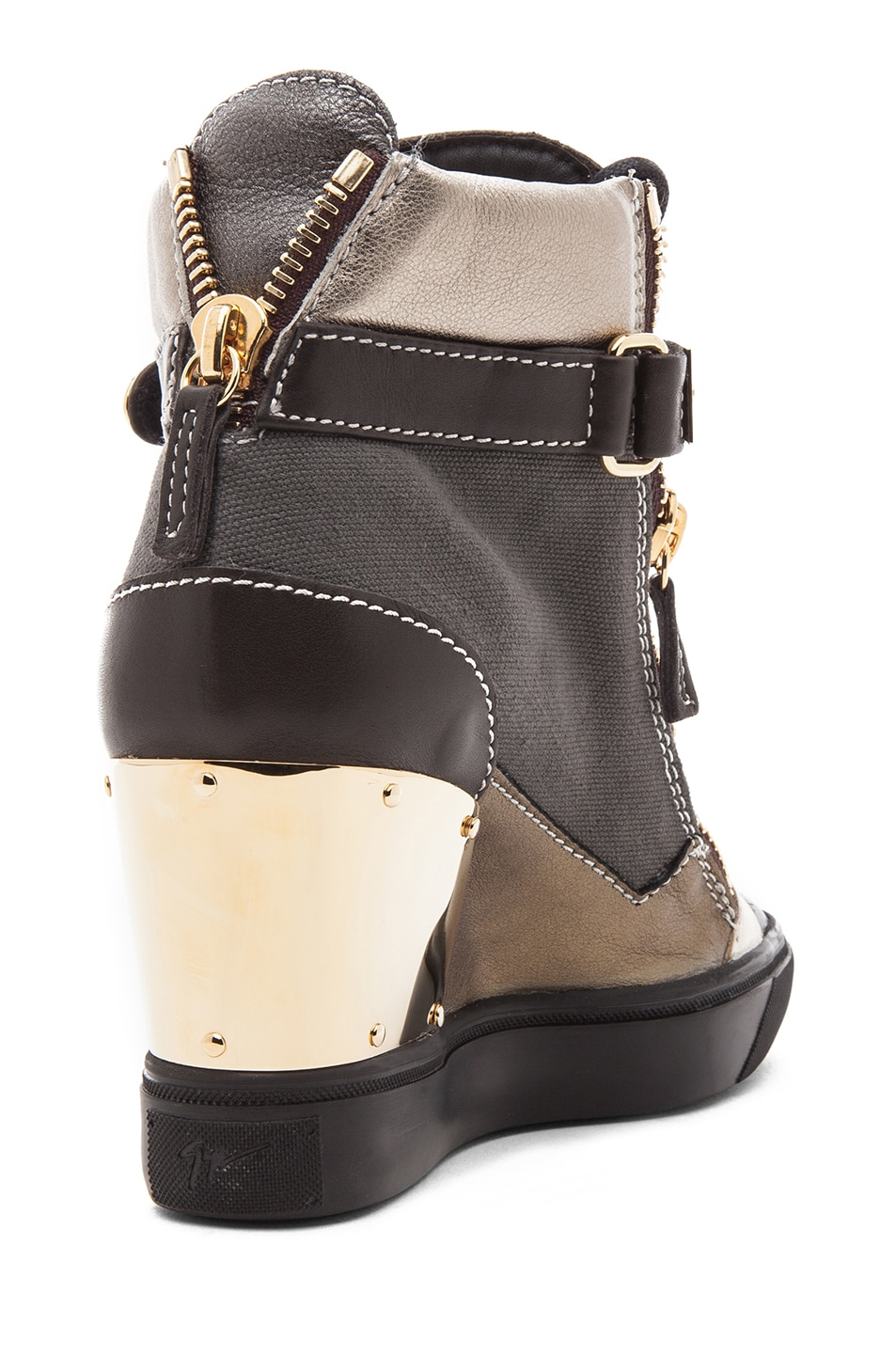 Image 3 of Giuseppe Zanotti Canvas & Leather Gold Strap Sneaker Wedge in Black Metallic
