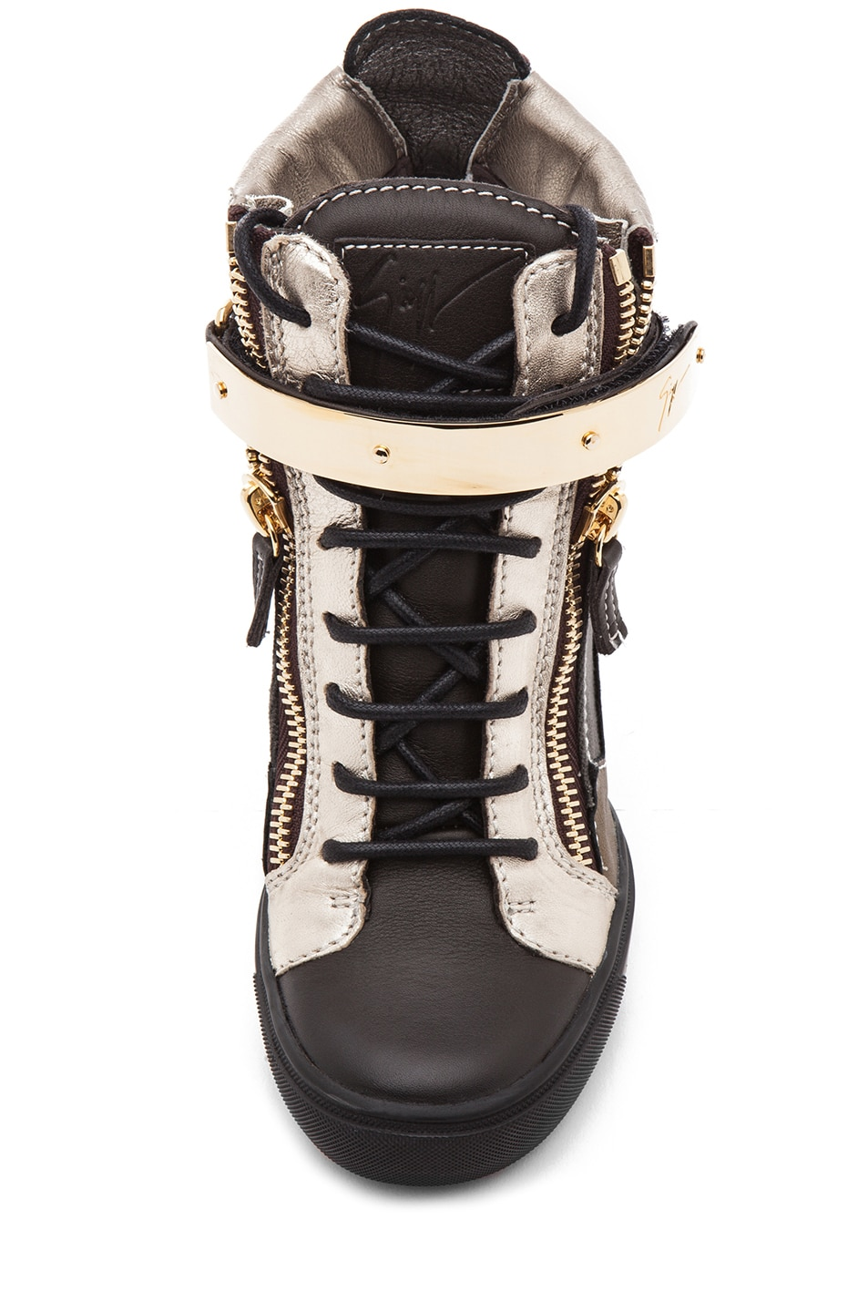 Image 4 of Giuseppe Zanotti Canvas & Leather Gold Strap Sneaker Wedge in Black Metallic