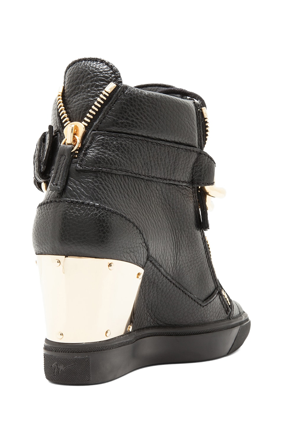 Image 3 of Giuseppe Zanotti Lorenz Grained Leather Wedge Sneakers with Chain in Black
