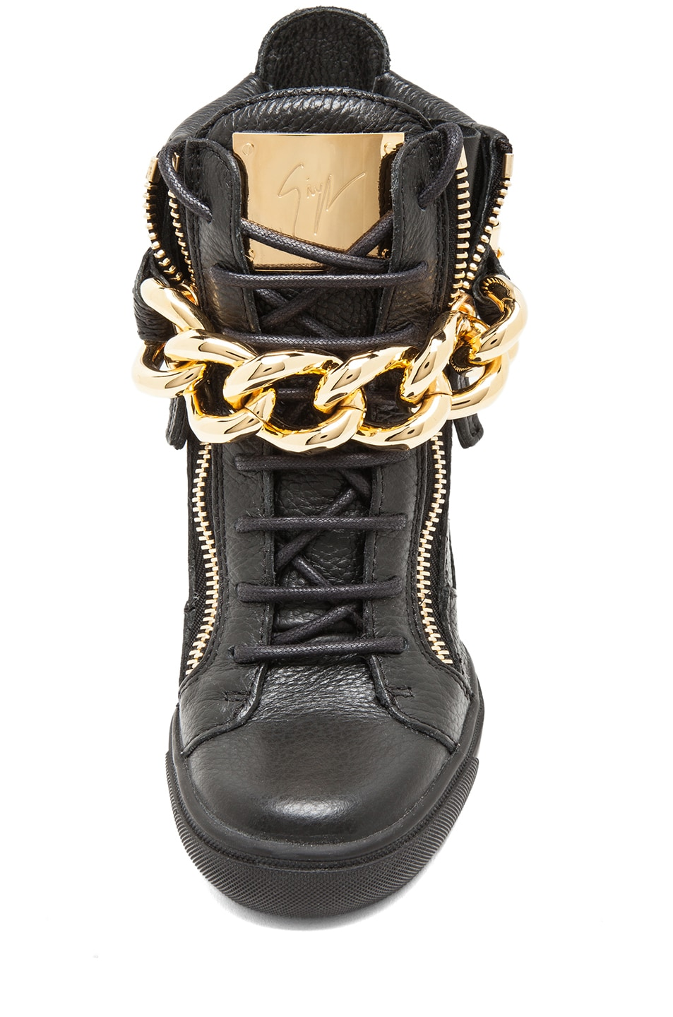 Image 4 of Giuseppe Zanotti Lorenz Grained Leather Wedge Sneakers with Chain in Black